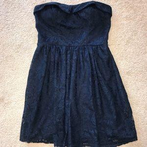 Blue Lace Dress (Strapless)